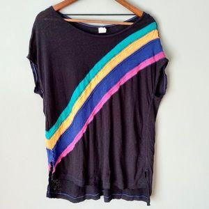 Free People Black Striped Short Sleeve Tunic Sz M